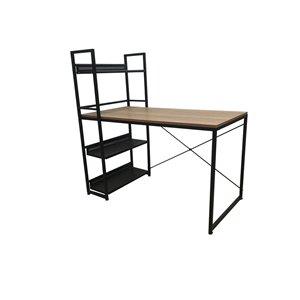 JR Home Collection Leo Desk/Bookshelf Combo - 47-in - Light Brown/Black