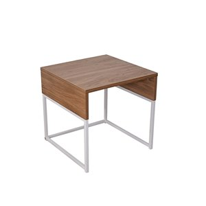 Table d'appoint de la collection Milo JR Home Collection, 17,72 po, brun pâle/blanc