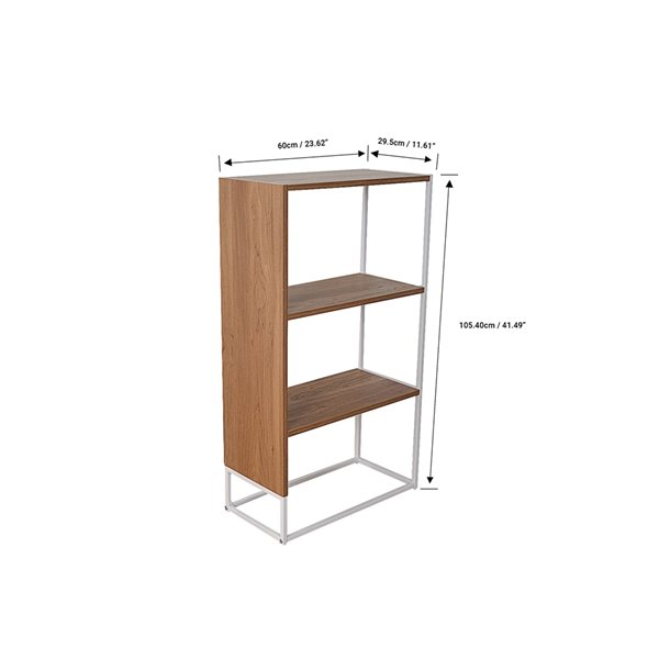 JR Home Collection Milo Collection Bookshelf  with 3 Shelves - 23.6-in - Light Brown/White