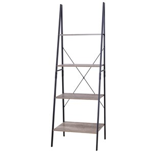 JR Home Collection Industrial Look Ladder Shelf - 23-in - Light Brown/Black