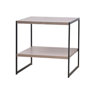Table d'appoint d'allure industrielle JR Home Collection, 19,7 po, brun/noir