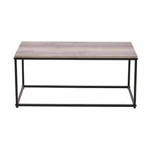 Table basse d'allure industrielle JR Home Collection, 35,4 po, beun/noir