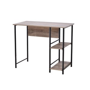 Bureau d'allure industrielle avec deux tablettes JR Home Collection, 40 po, brun/noir