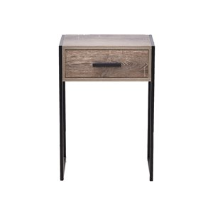 Table d'appoint d'allure industrielle JR Home Collection, 12 po, brun/noir