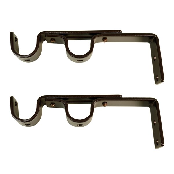 Versailles Home Fashions Double Wall Brackets - 16/19mm Rod - Espresso - 2-pack