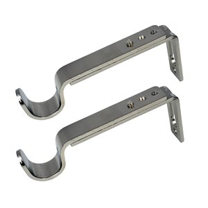 Versailles Home Fashions Single Wall Brackets - 16/19mm Rod - Brushed Nickel - 2-pack