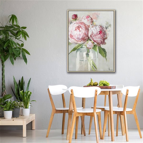 Oakland Living Acrylic Wall Art - Flower Vase - Brown Wood Frame - 35-in x 47-in