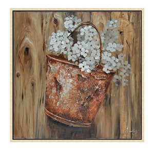 Oakland Living Wall Art - White Floral - Brown Wood Frame - 39-in x 39-in