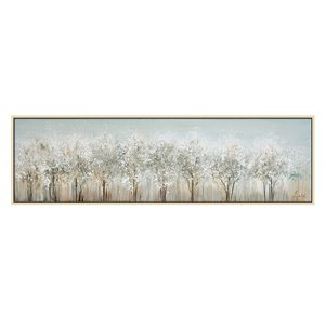 Oakland Living Wall Art - White Trees - Brown Wooden Frame - 71-in x 20-in