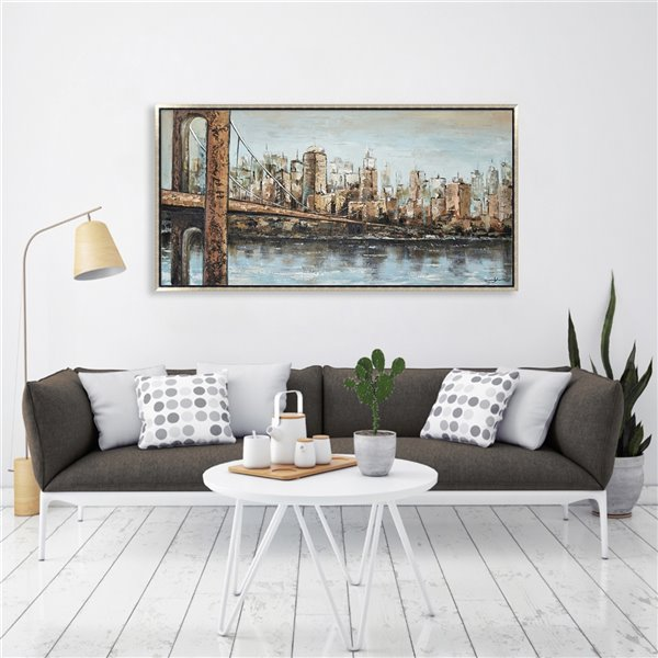 Oakland Living Wall Art - Cityscape - Silver Wooden Frame - 55-in x 28-in