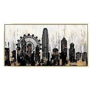 Oakland Living Acrylic Wall Art - Cityscape - Pink Wood Frame - 55-in x 28-in
