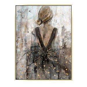 Oakland Living Wall Art - Girl Dress - Gold Wooden Frame - 35-in x 47-in