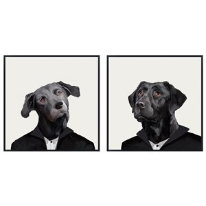 Oakland Living Wall Art - Dog in Suits - Black Wood Frame - 39-in x 39-in - 2/Pk
