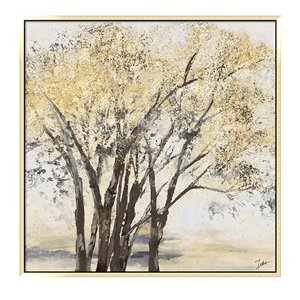 Oakland Living Wall Art - Golden Trees Square  - Gold Wood Frame - 39-in x 39-in