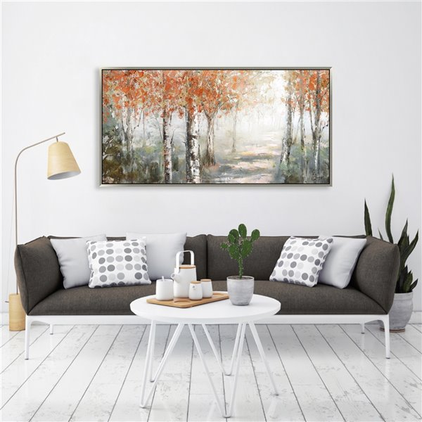 Oakland Living Wall Art - Autumn White Birch - Silver Wood Frame - 55-in x 28-in