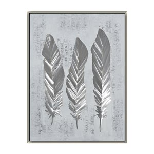 Oakland Living 3D Wall Art - Feathers - Silver Wood Frame - 35-in x 47-in
