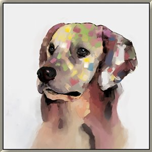 Oakland Living Wall Art - Rainbow Labrador - White Frame - 39-in x 39-in
