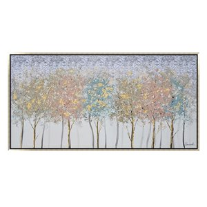 Oakland Living Wall Art - Colorful Trees - Silver Wooden Frame - 59-in x 30-in