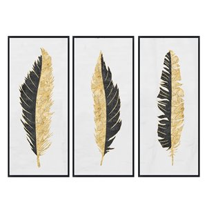 Oakland Living Wall Art - Feathers - Black Wood Frame - 28-in x 55-in - 3/Pk