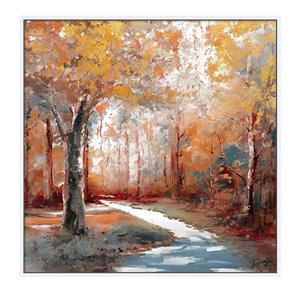 Oakland Living Wall Art - Autumn Forest Square - White Frame - 39-in x 39-in