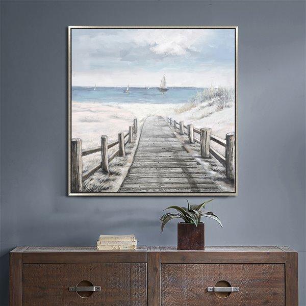 Oakland Living Wall Art - Beach Boardwalk - Silver Wood Frame - 47-in x 35-in