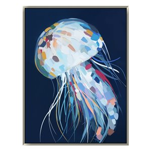 Oakland Living Wall Art - Rainbow Jellyfish - Silver Frame - 35-in x 47-in