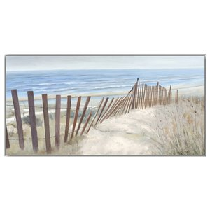 Oakland Living Wall Art - Beach Sand Dune - Silver Wood Frame - 47-in x 24-in