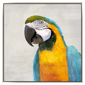 Oakland Living Wall Art - Right Blue Parrot - Pink Wood Frame - 39-in x 39-in
