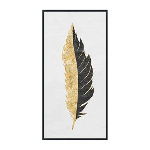 Oakland Living Wall Art - Center Feather - Black Wood Frame - 28-in x 55-in