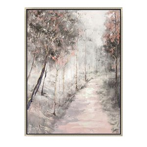 Oakland Living Wall Art - Pink Pathway Trees - Silver Wood Frame - 35-in x 47-in