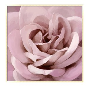Oakland Living Wall Art - Pink Floral - Gold Wooden Frame - 39-in x 39-in
