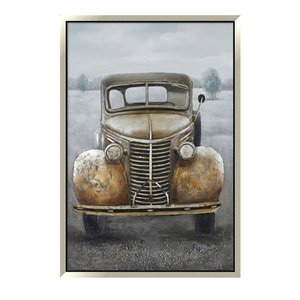 Oakland Living Aluminum 3D Wall Art - Truck - Silver Wood Frame - 39-in x 59-in