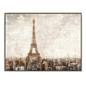 Oakland Living Wall Art - Paris Eiffel Tower - Silver Wood Frame - 47-in x 35-in
