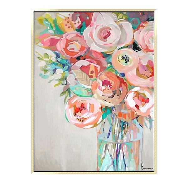 Oakland Living Wall Art - Flower Vase - Pink Wooden Frame - 35-in x 47-in
