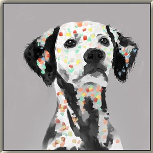 Oakland Living Wall Art - Rainbow Dalmatian - Black Wood Frame - 39-in x 39-in