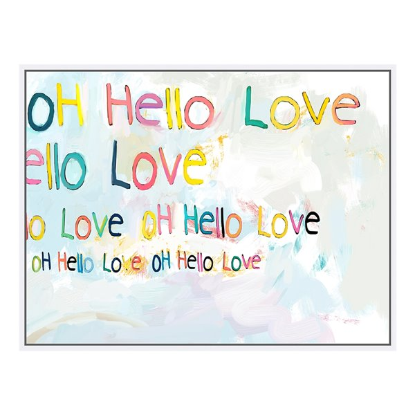 Oakland Living Acrylic Wall Art - Hello Love Text - White Frame - 39-in x 30-in