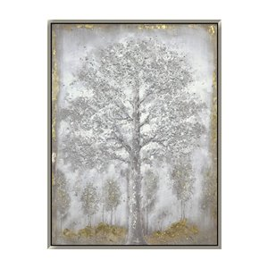 Oakland Living 3D Wall Art - Snowy Trees - Silver Wood Frame  - 35-in x 47-in