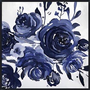 Oakland Living Acrylic Wall Art - Blue Flowers - Black Frame - 39-in x 39-in