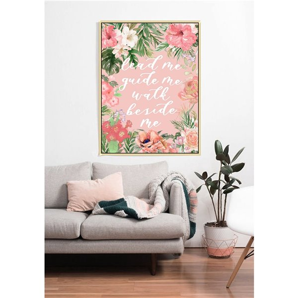 Oakland Living Wall Art - Flowers and Text - Brown Wood Frame - 30-in x 39-in