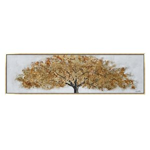 Oakland Living Wall Art - Fall Golden Tree - Gold Wooden Frame - 71-in x 20-in