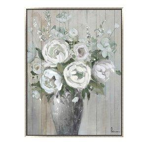 Oakland Living Wall Art - White Flower Vase - Silver Frame - 35-in x 47-in