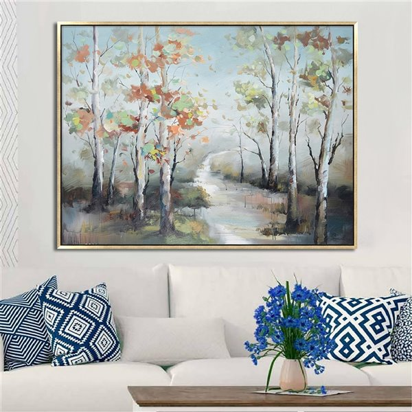 Oakland Living Wall Art - Colorful Trees - Pink Wooden Frame - 47-in x 35-in