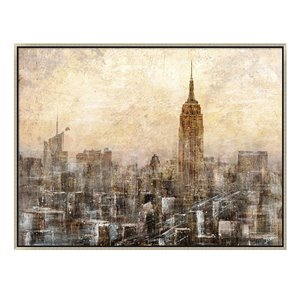 Oakland Living Acrylic Wall Art - New York - Silver Wood Frame - 47-in x 35-in
