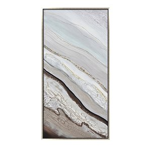 Oakland Living Acrylic Wall Art - Abstract - Silver Wooden Frame - 28-in x 55-in