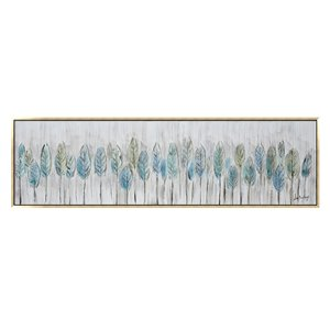 Oakland Living Wall Art -Blue Feathers - Gold Wooden Frame - 71-in x 20-in