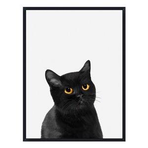 Oakland Living Acrylic Wall Art - Black Cat - Black Wood Frame - 35-in x 47-in