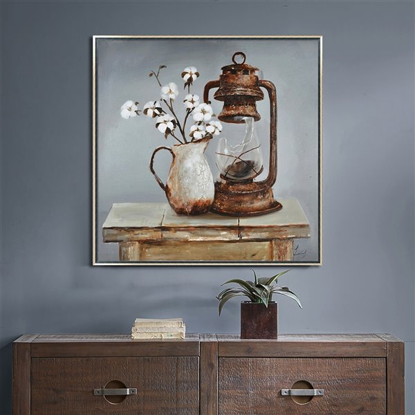 Oakland Living Wall Art - Floral Square - Silver Wood Frame - 39-in x 39-in