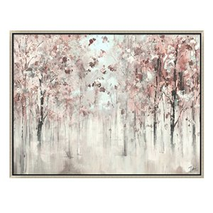 Oakland Living Wall Art - Pink Trees - Silver Wooden Frame - 47-in x 35-in