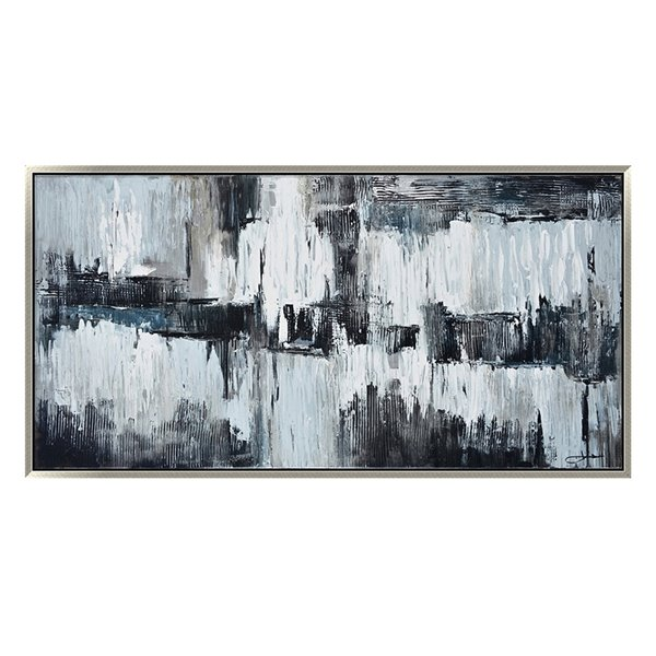 Oakland Living Acrylic Wall Art - Abstract - Silver Wooden Frame - 59-in x 30-in
