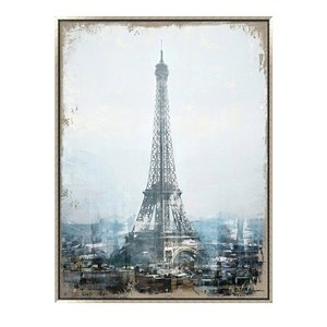 Oakland Living Wall Art - Eiffel Tower - Silver Wood Frame - 35-in x 47-in